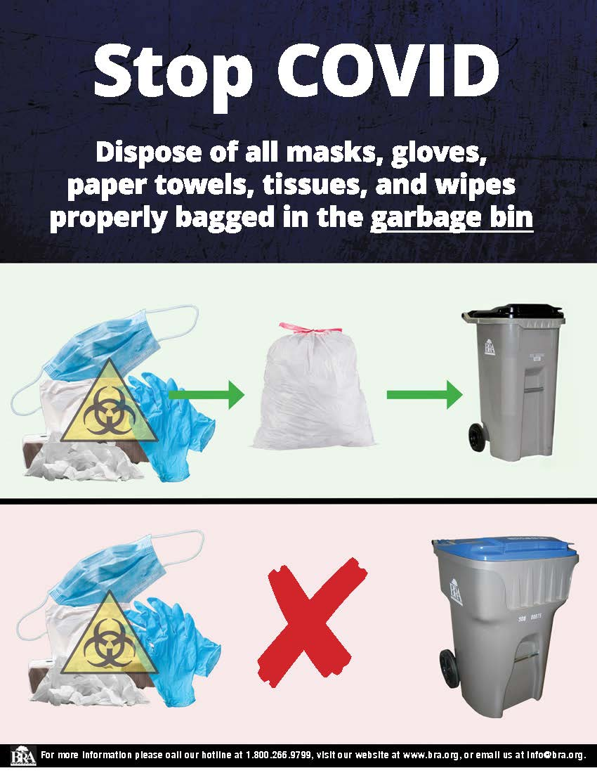 Flyer with information reminding people to dispose of masks in gloves in garbage bins, not recycling bins